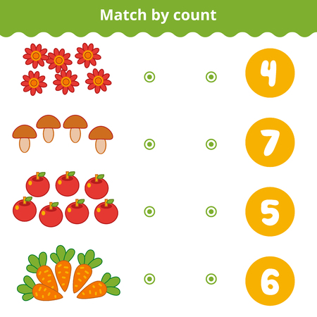 Counting Game for Preschool Children. Educational a mathematical game. Count the items in the picture and choose the right answer. Nature items