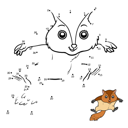 Numbers game, education dot to dot game for children, Flying squirrel Illustration