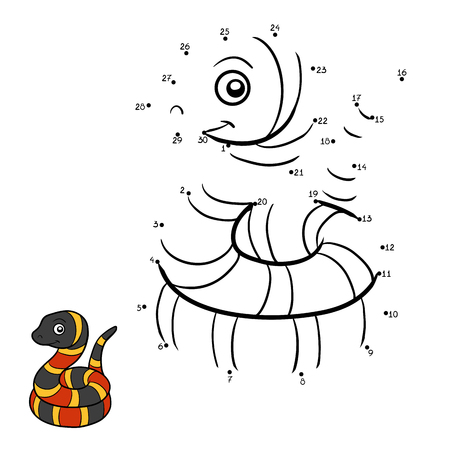 Numbers game, education dot to dot game for children, Micrurus Illustration