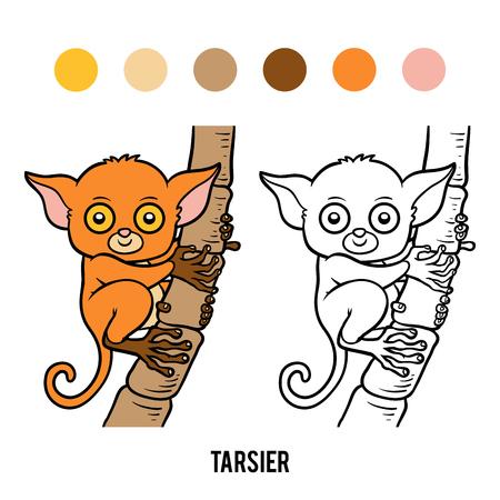 Coloring Book For Children Tarsier Illustration
