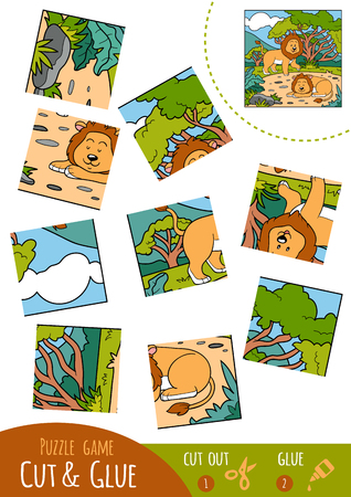 undomestic: Education puzzle game for children, Lion. Use scissors and glue to create the image.