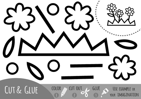 Education paper game for children, Flower. Use scissors and glue to create the image.