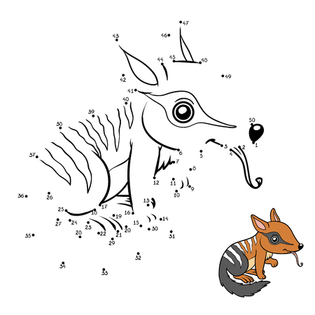 Numbers game, education dot to dot game for children, Numbat