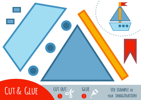 Education paper game for children, Yacht. Use scissors and glue to create the image.