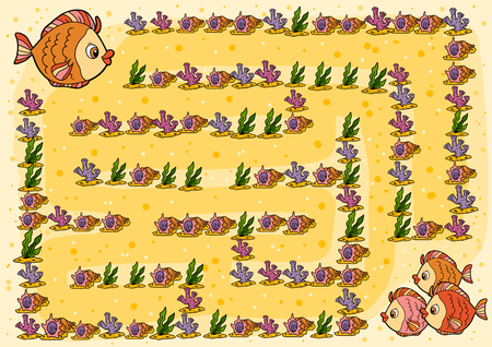 Maze game, education game for children, Fish