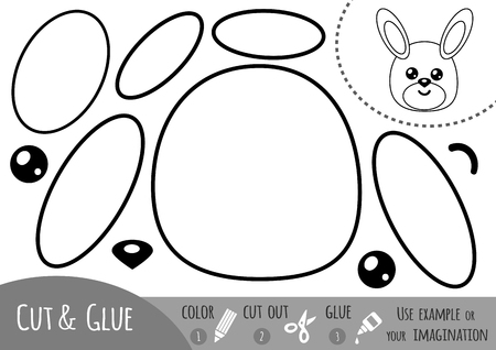 book pages: Education paper game for children, Rabbit. Use scissors and glue to create the image.