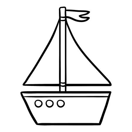Vector Barco De Juguete De Dibujos Animados Para Colorear