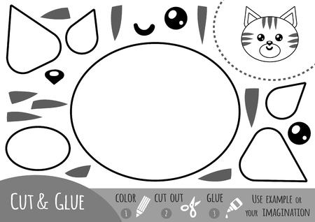 Bildung Papier Spiel Für Kinder, Kat. Verwenden Sie Schere Und ...