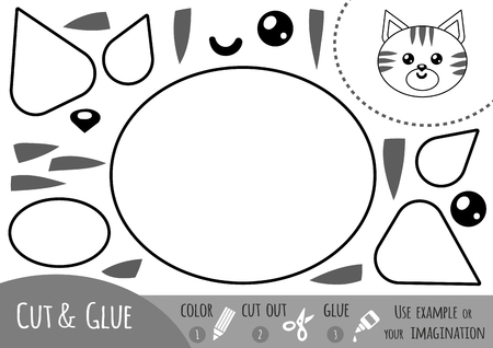 brain teaser: Education paper game for children, Cat. Use scissors and glue to create the image.