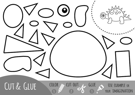 Education paper game for children, Dinosaur. Use scissors and glue to create the image.