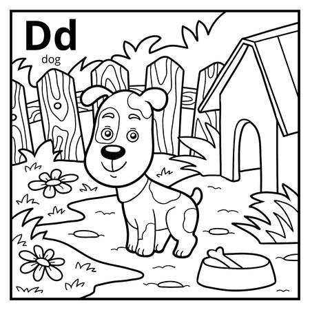 pooch: Coloring book for children, colorless alphabet. Letter D, dog Illustration