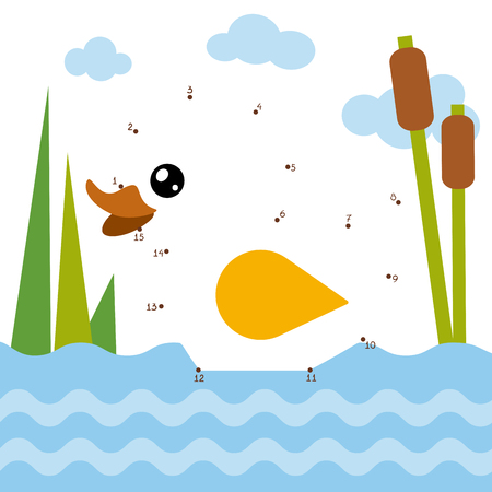 Numbers game, education dot to dot game for children, Duck Illustration