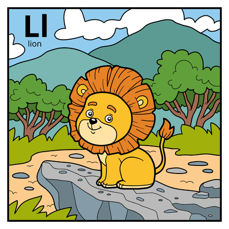 Vector color alphabet for children, letter L (lion) Illustration