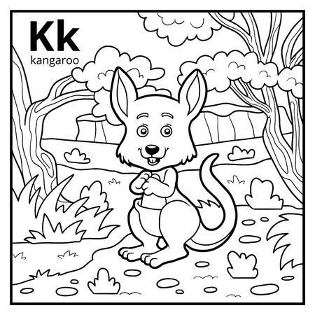 Coloring book for children, colorless alphabet. Letter K, kangaroo