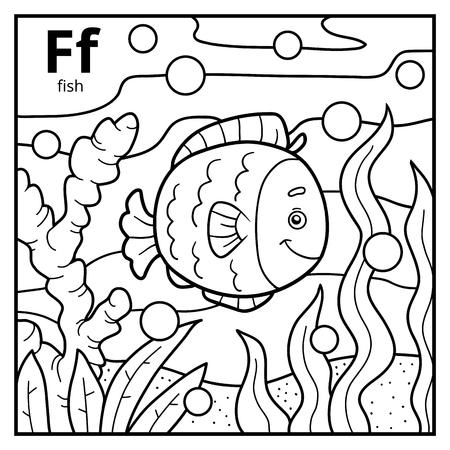 Dibujo Para Colorear Para Niños, Alfabeto Incoloro Con Letra F ...