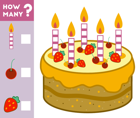 Counting Game for Preschool Children. Educational a mathematical game. Count how many cake ingredients and write the result!