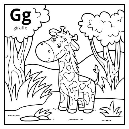 Libro da colorare per bambini, alfabeto incolore. Lettera G, giraffa
