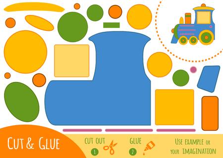 Jeu de papier éducatif pour les enfants, Train. Utilisez des ciseaux et de la colle pour créer l'image. Banque d'images - 77425849