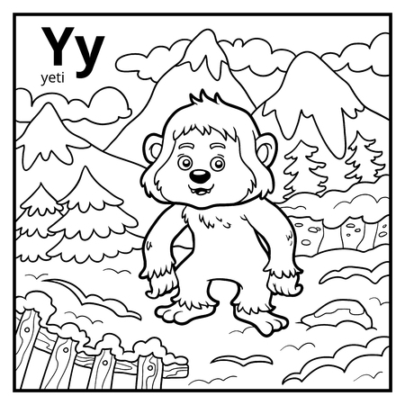 Coloring book for children, colorless alphabet. Letter Y, yeti  イラスト・ベクター素材