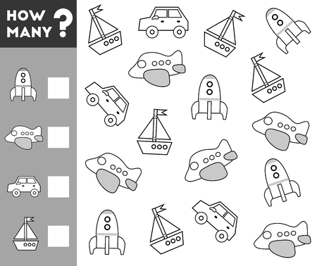 Counting Game for Preschool Children. Educational a mathematical game. Count how many transport objects and write the result! Illustration