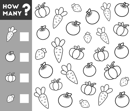 addition: Counting Game for Preschool Children. Educational a mathematical game. Count how many fruits, vegetables and write the result!