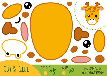 Jeu de papier d'éducation pour les enfants, Girafe. Utilisez des ciseaux et de la colle pour créer l'image.