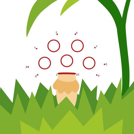 Numbers game, education dot to dot game for children, Amanita mushroom