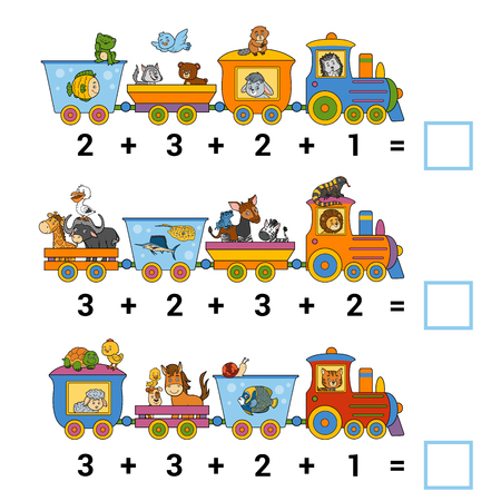 Counting Game for Preschool Children. Educational a mathematical game. Count the animals on the train and write the result. Tasks for addition Vettoriali