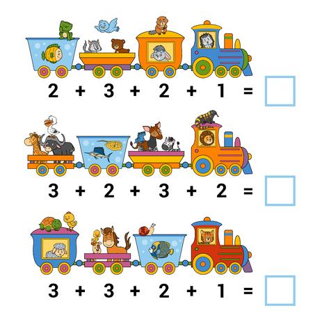 Spel tellen voor kleuters. Educatief een wiskundig spel. Tel de dieren in de trein en schrijf het resultaat. Taken voor toevoeging