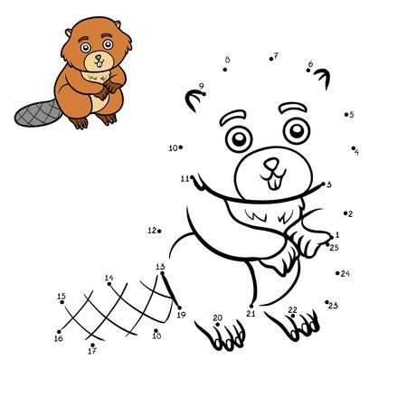 Numbers game, education dot to dot game for children, Beaver Ilustração