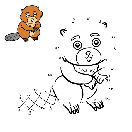Numbers game, education dot to dot game for children, Beaver Illustration