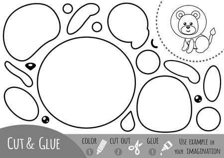 教育論文では、ライオンの子供のためのゲーム。イメージを作成するのにには、はさみや接着剤を使用します。  イラスト・ベクター素材