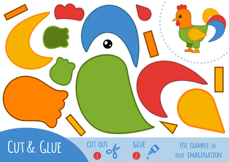 Education paper game for children, Rooster. Use scissors and glue to create the image.