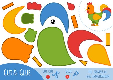 Juego de papel educativo para niños, Gallo. Utilice las tijeras y el pegamento para crear la imagen. Foto de archivo - 77426696