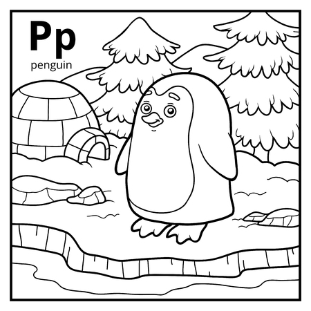 antarctica: Coloring book for children, colorless alphabet. Letter P, penguin