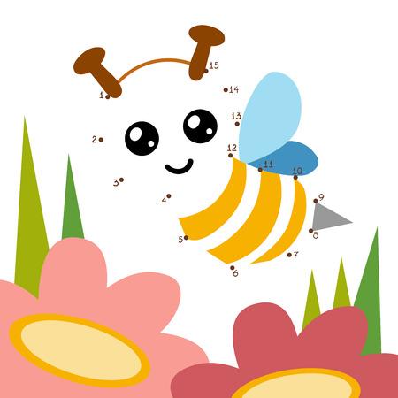 数字のゲーム、子供、蜂のため教育ドットジェリーのドット ゲーム  イラスト・ベクター素材
