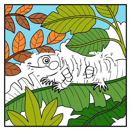 Numbers game, education dot to dot game for children, Xenosaurus