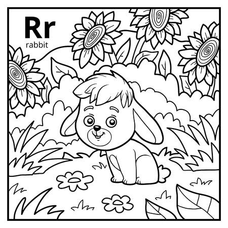 Coloring book for children, colorless alphabet. Letter R, rabbit Illustration