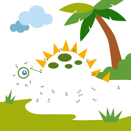 Numbers game, education dot to dot game for children, Dinosaur  イラスト・ベクター素材