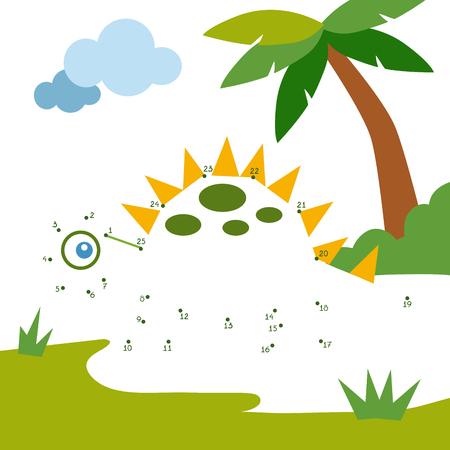 Numbers game, education dot to dot game for children, Dinosaur Illustration