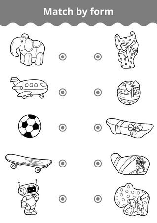 for boys: Matching game, vector education game for children. Connect boys toys and gifts by shape