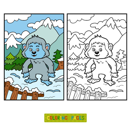 Coloring Book For Children Yeti Vector