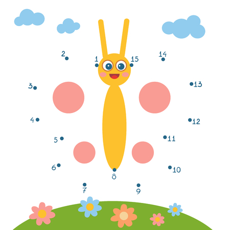Numbers game, education dot to dot game for children, Butterfly