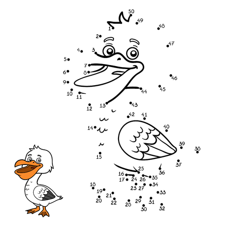 Numbers game, education dot to dot game for children, Pelican Stock Vector - 77428020