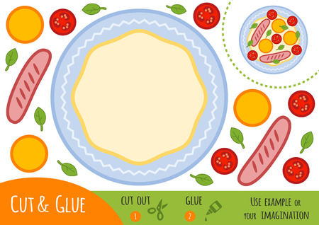 Education paper game for children, Fried egg. Use scissors and glue to create the image.