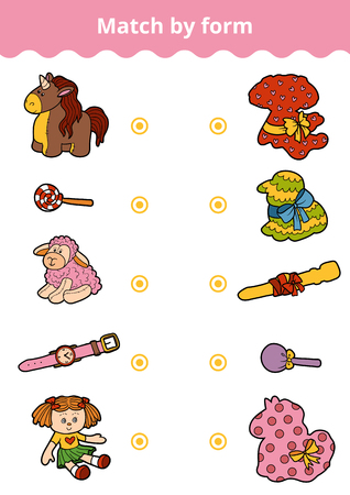 Matching game, vector education game for children. Connect girl's toys and gifts by shape
