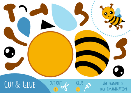 Education paper game for children, Bee. Use scissors and glue to create the image.  イラスト・ベクター素材
