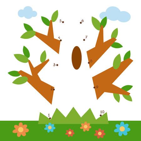 Numbers game, education dot to dot game for children, Oak Illustration