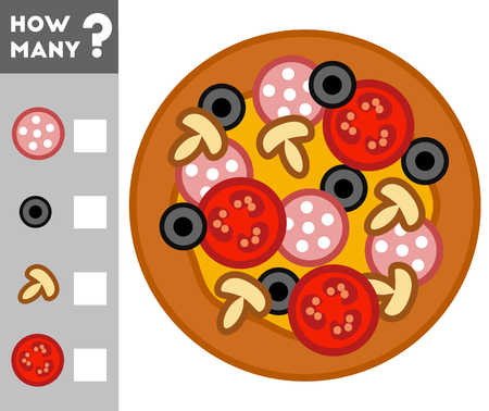Counting Game for Preschool Children. Educational a mathematical game. Count how many pizza items and write the result! 向量圖像