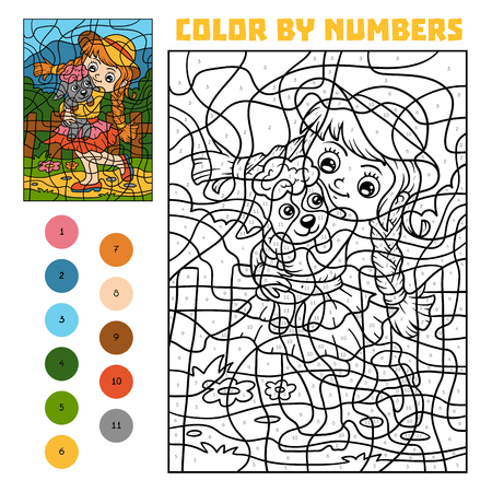 Color by number, education game for children, Girl and sheep Иллюстрация